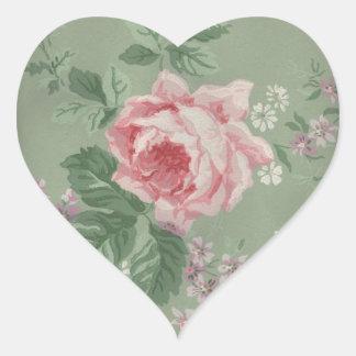 Lovely Vintage Victorian Rose Heart Sticker