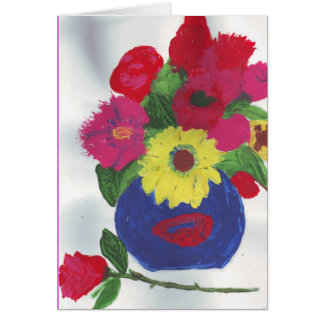 Lovely watercolor flowers vase card