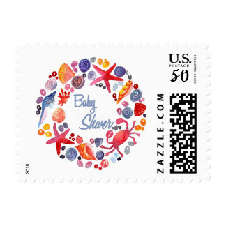 Lovely Watercolor Sea Wreath Beach Baby Shower Postage