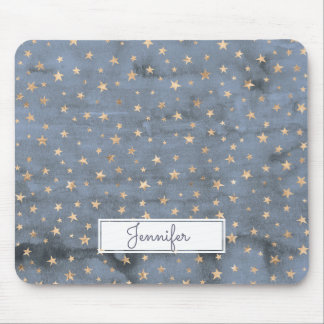 Lovely watercolor twinkle gold star lavender mouse pad