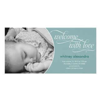Lovely Welcome Baby Birth Announcement - Blue