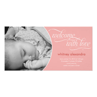 Lovely Welcome Baby Birth Announcement - Pink