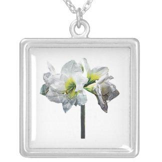 Lovely White Amaryllis Square Pendant Necklace