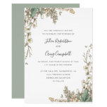 Lovely White Bellflowers leaves Whimsical wedding Invitation