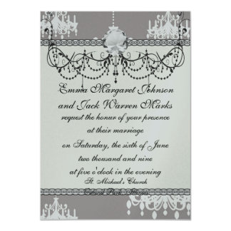 lovely white chandelier damask on grey silver card
