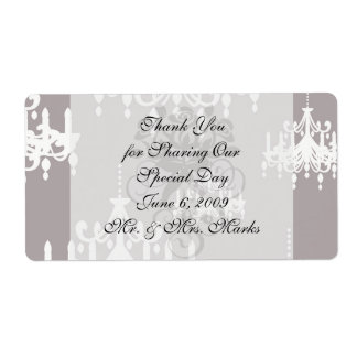 lovely white chandelier damask on grey silver personalized shipping labels