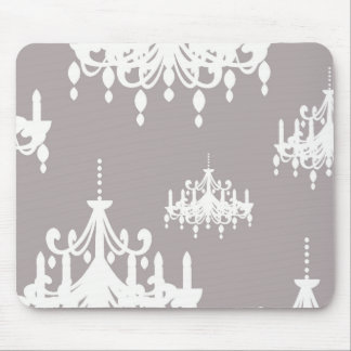lovely white chandelier damask on grey silver mouse pad
