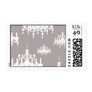 lovely white chandelier damask on grey silver postage stamp