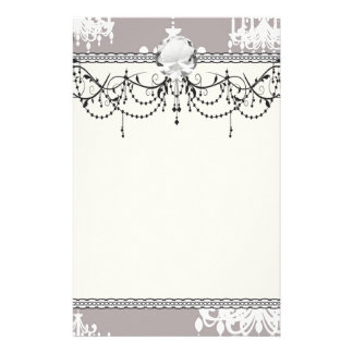 lovely white chandelier damask on grey silver stationery