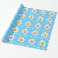 Lovely white daisy flower in blue happy birthday gift wrap