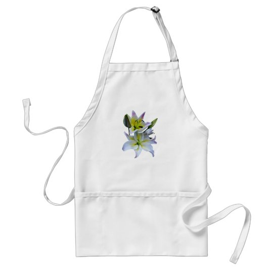 Lovely White Lilies Adult Apron