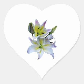 Lovely White Lilies Heart Sticker