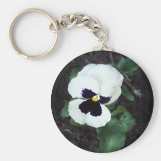 Lovely White Pansy Keychain