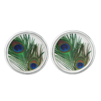 Lovely White Peacock Feather Cufflinks