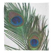 Lovely White Peacock Feathers Bandana