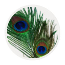 Lovely White Peacock Feathers Edible Frosting Rounds