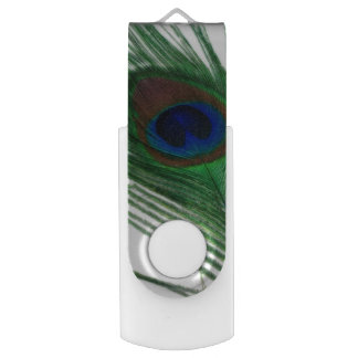 Lovely White Peacock Flash Drive