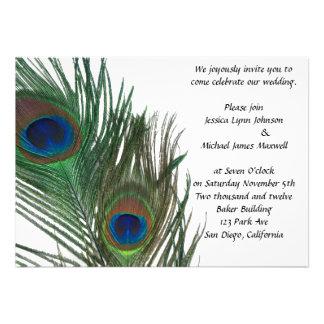 Lovely White Peacock Wedding Invite