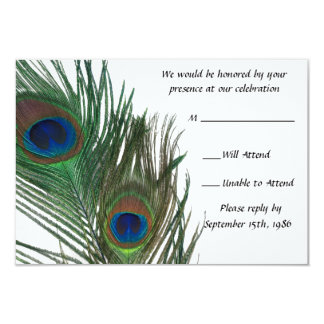 Lovely White Peacock Wedding RSVP Card