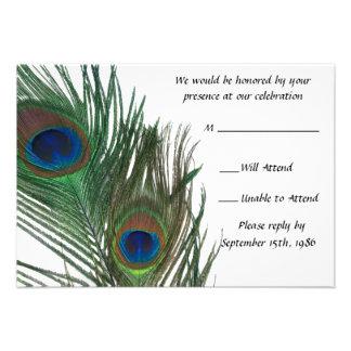 Lovely White Peacock Wedding RSVP Custom Invite