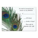 "Lovely White Peacock Wedding RSVP 3.5"" X 5"" Invitation Card"