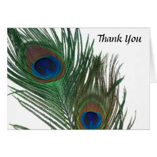 Lovely White Peacock Wedding Thank You Card