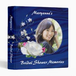 Lovely White Rose Bridal Shower Album 3 Ring Binder