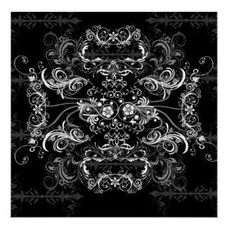 Lovely white Swirlies on black Poster