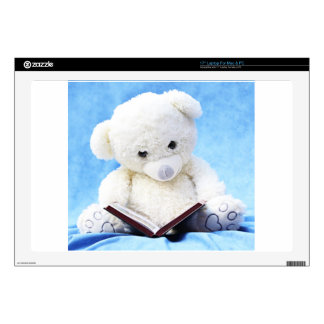 "Lovely White Teddy Bear Read Book 17"" Laptop Decal"