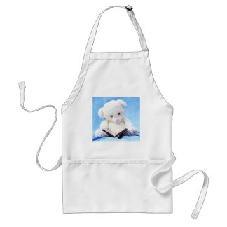 Lovely White Teddy Bear Read Book Adult Apron