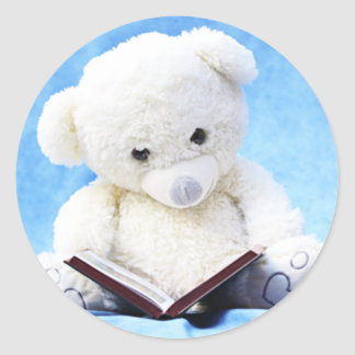 Lovely White Teddy Bear Read Book Classic Round Sticker