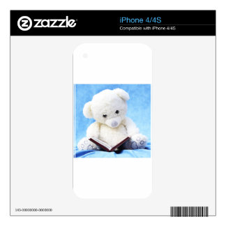 Lovely White Teddy Bear Read Book Decals For The iPhone 4S