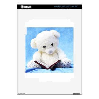 Lovely White Teddy Bear Read Book iPad 3 Skins