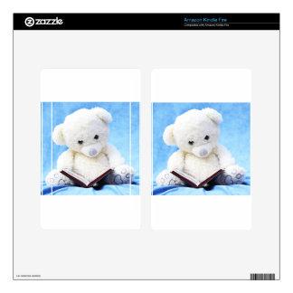 Lovely White Teddy Bear Read Book Kindle Fire Skin