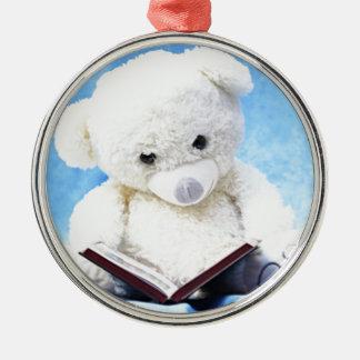 Lovely White Teddy Bear Read Book Metal Ornament