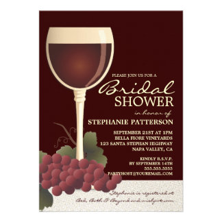 Lovely Wine Grapes Bridal Shower Invitation