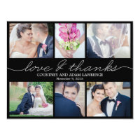 Lovely Writing Wedding Photo Thank You Card Black