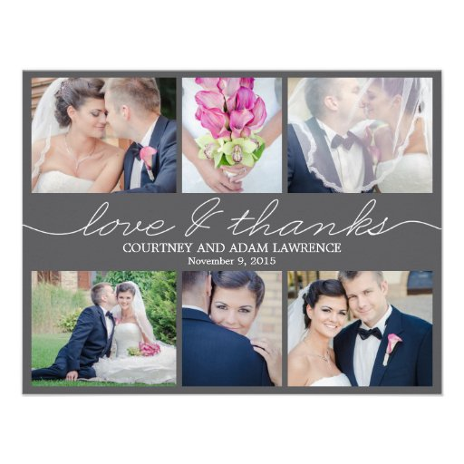 Lovely Writing Wedding Photo Thank You Card Black Announcements