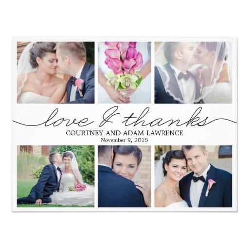 Lovely Writing Wedding Photo Thank You Card White