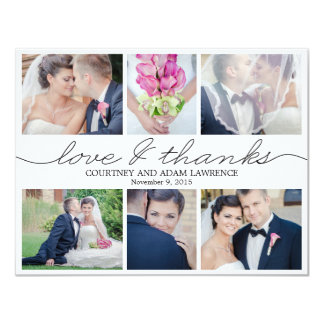 Lovely Writing Wedding Photo Thank You Card White