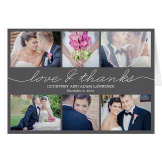 Lovely Writing Wedding Thank You Card - Gray