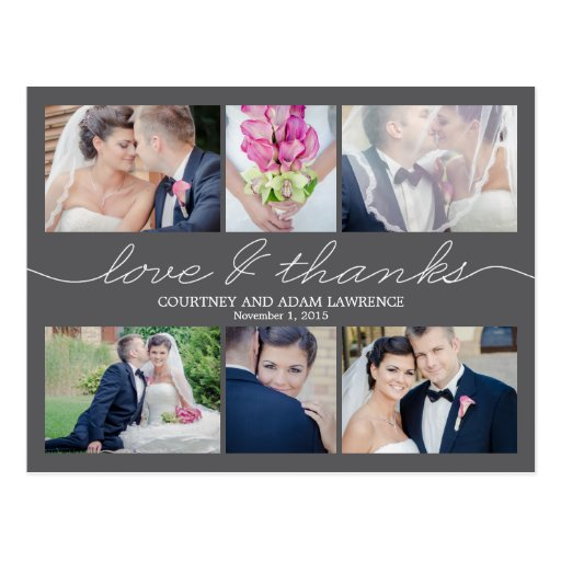 Wedding Thank You Cards What To Write: Lovely Writing Wedding Thank You Card - Gray Postcard