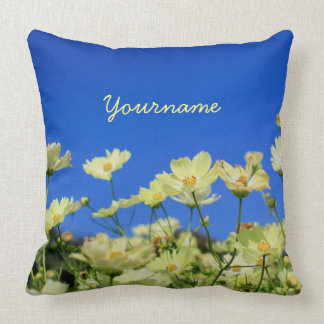 Lovely Yellow Cosmos Clear Blue Sky Flower Field Throw Pillows