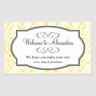 Lovely yellow damask pattern out of town gift bag rectangle stickers