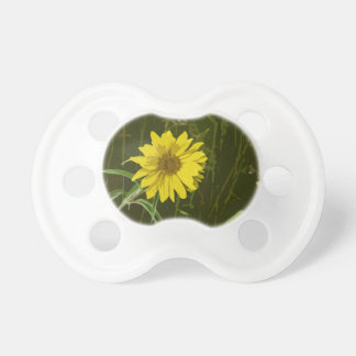 Lovely Yellow Flower Painting Style Image & Green BooginHead Pacifier