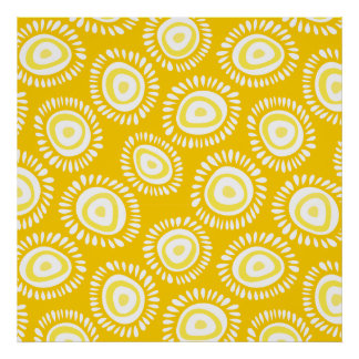 Lovely yellow funky flowers Poster