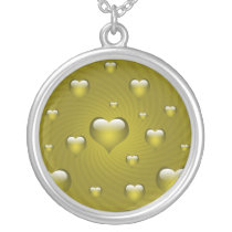 lovely yellow hearts silver plated necklace
