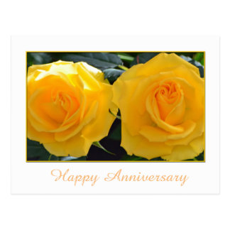 Lovely yellow rose flowers happy anniversary postcard