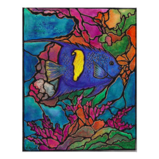 Lovely Yellowbar Angelfish Coral Reef Art Painting Poster