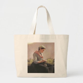 Lovely Young Knitter Large Tote Bag